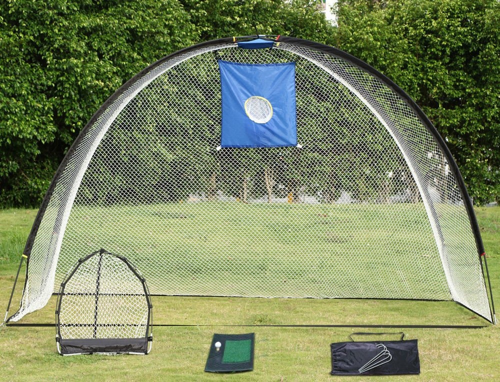 Chonlakrit 3 in 1 Golf Practice Set Mat Driving Net Chipping Net and Bag + Free 4 Nails New