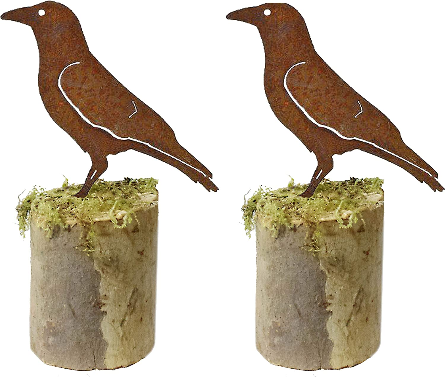 California Home and Garden CH505-2 Set of 2 Metal Crow Silhouettes 9 Inch Tall, 9-Inch x 12-Inch Wide, Rustic Look Artwork