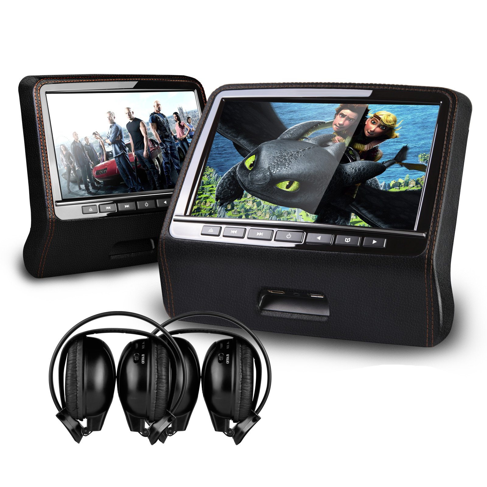 XTRONS Black Twin 2x9'' HD Active Car Pillow Headrest Monitor Portable DVD/USB Player Game HDMI&Black IR Headphones Included