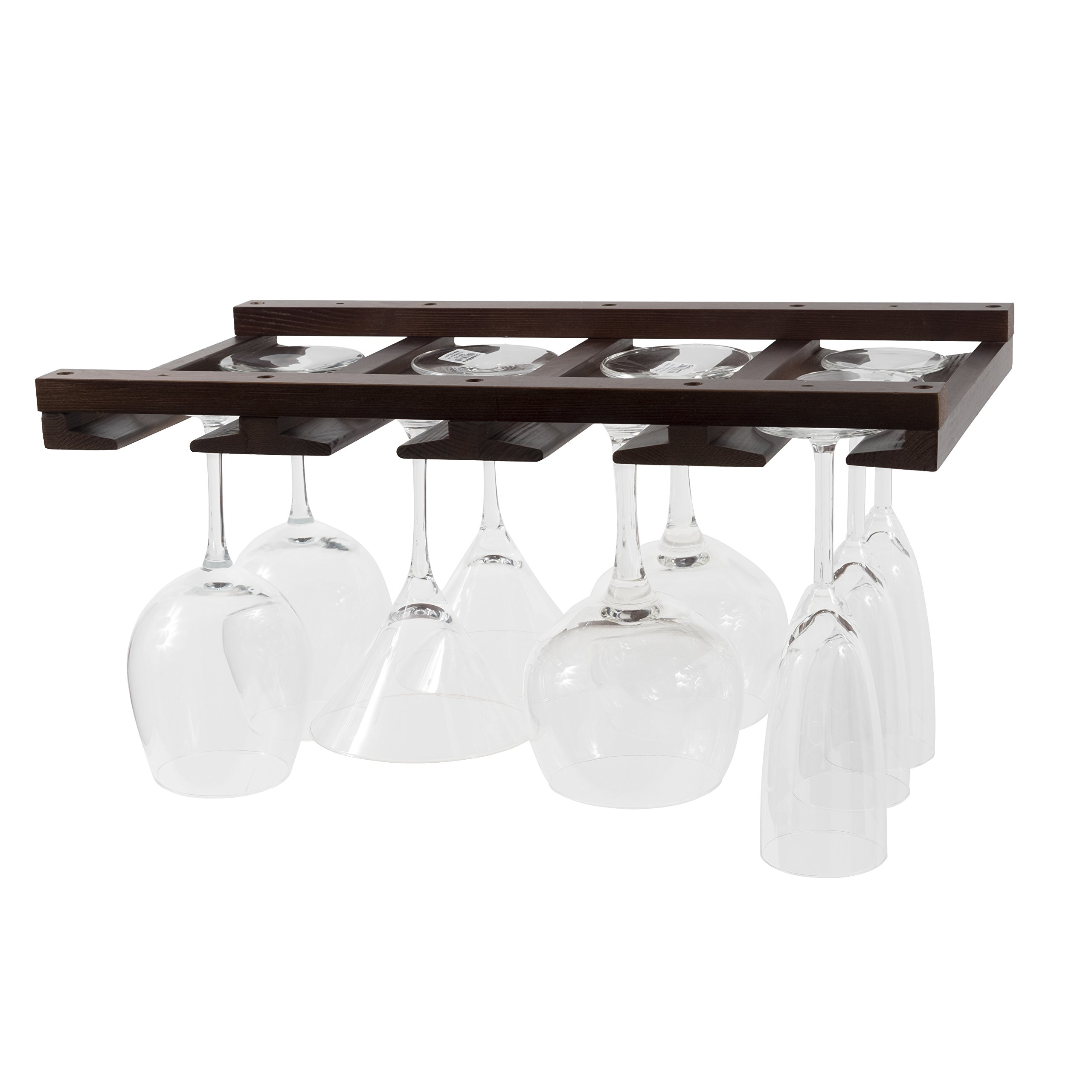 Artifact Design Wine Glass Rack Makes Dull Kitchens or Bar Looks Great Perfectly Fits 6-12 Glasses Under Cabinet Easy to Install with Included Screws Great Hanging Bar Glass Rack (Chestnut Stained)