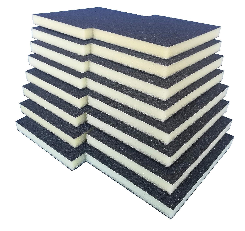 Handschleifer f/ür verschiedene Materialien geeignet I weiches anpassungsf/ähiges Schleifmittel Schleifklotz Schleifschwamm Schleifmatte I K/örnung K180 16er Set FEIN I DIY Schleifblock