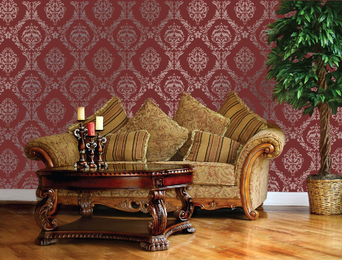 Large wall damask stencil faux mural design 1007 13x14 48 large wall damask stencil faux mural design 1007 13x14 48 stencils for walls amazon amipublicfo Gallery