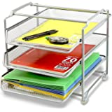 DecoBros Stackable 3 Tier Desk Organizer, Sliver