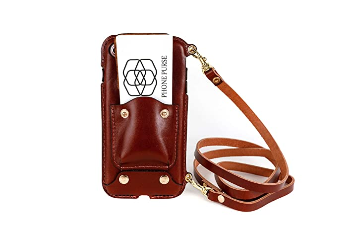 competitive price 659b6 39bc7 Cell Phone Lanyard Strap iPhone XS Cell Phone Case, Leather Crossbody Bag  CHESTNUT Mini Phone Pouch with Shoulder Strap for iPhone XS Lanyard Chestnut
