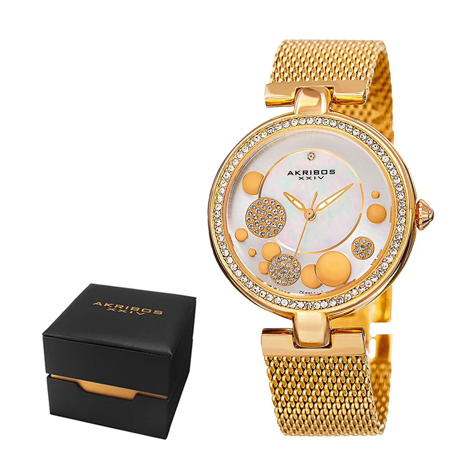 Amazon.com: Akribos XXIV Womens Fashion Sparkling Quartz Watch - White Mother of Pearl Sunburst and Crystal Pave Dial - Featuring a Yellow Gold Stainless ...