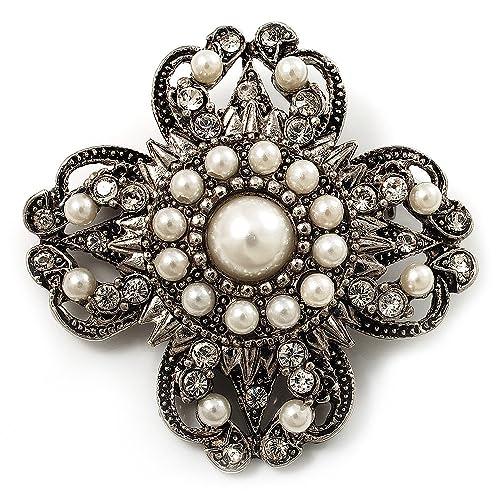 Amazon.com: clásico perla cruz de filigrana broche (Color ...