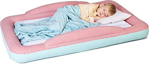 Inflatable Toddler Travel Bed with Sides - Kids Air Mattress for Camping or Home Use – Easy to Inflate Childrens Air Bed - Fleece Blanket and Pump ...