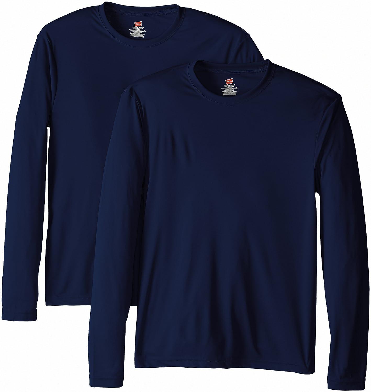 d097483d839 Hanes Men s Long Sleeve Cool Dri T-Shirt UPF 50+ (Pack of 2) at Amazon Men s  Clothing store