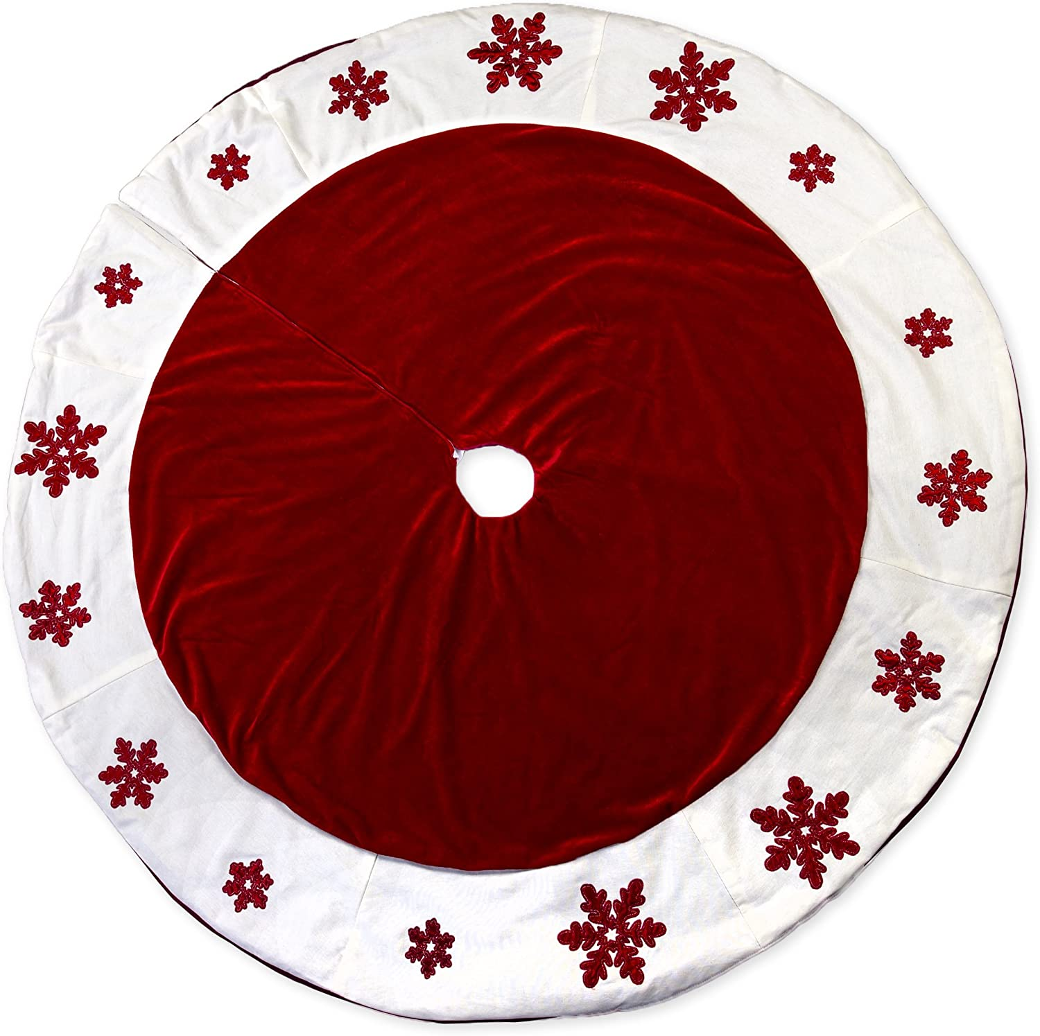 56 Inch Red Embossed Snowflakes Plush Fabric Christmas Tree Skirt With White Trim