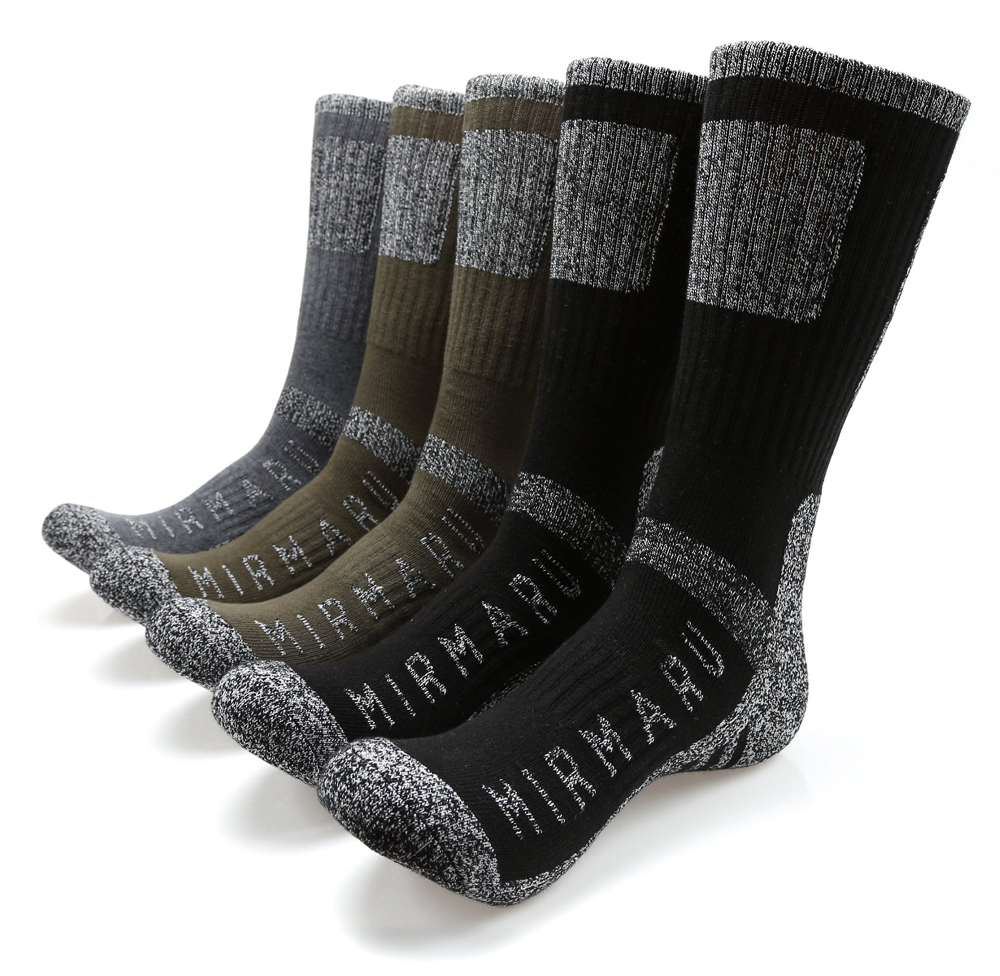 MIRMARU M202-Medium-Men's 5 Pairs Multi Performance Outdoor Sports Hiking Trekking Crew Socks (2Black,2Olive,1Char) by MIRMARU