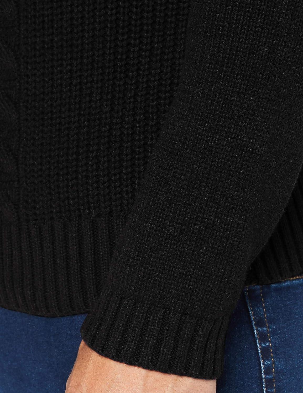 Nero MERAKI C15-987M-A Maglione Cable Knit in Cotone con Girocollo Black 50