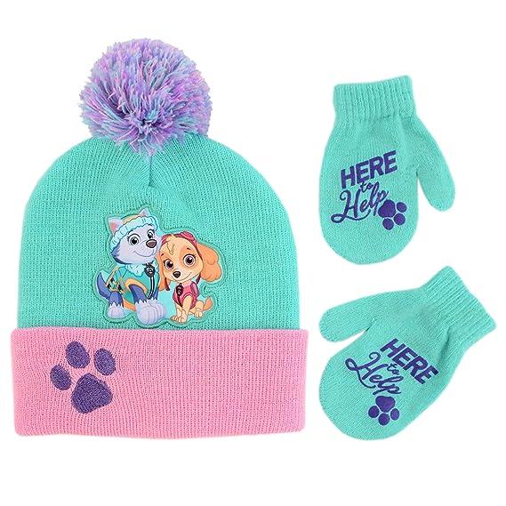 796c241c23d Nickelodeon - Conjunto de sombrero y manoplas para niñas de Patrulla Canina  para el frío