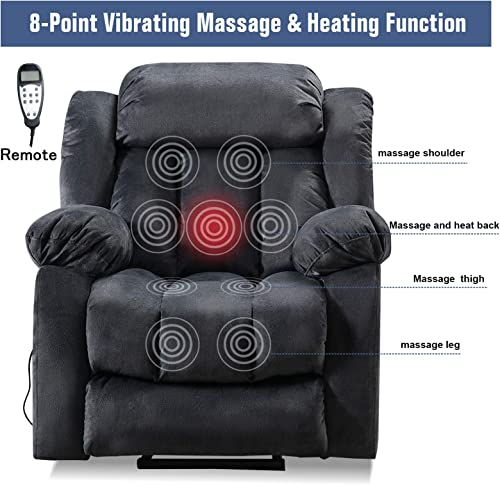 ANJ HOME Power Lift Recliner Chair with Massage Heat Vibration for Elderly, Heavy Duty and Safety Motion Reclining Mechanism – Antiskid Fabric Sofa Contempoary Overstuffed Design, Grey
