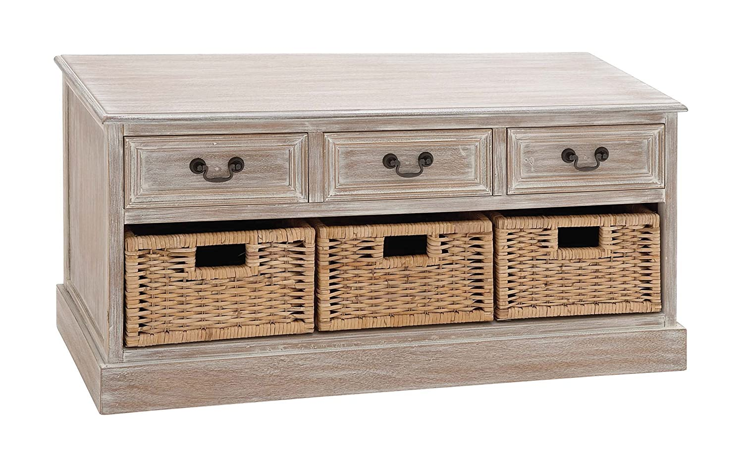 Deco 79 Wood 3-Basket Low Chest, 40 by 20-Inch