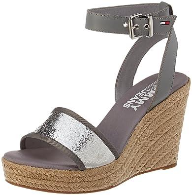 e9eb77f62b4 Tommy Jeans Women s Metallic Wedge Sandal Espadrilles  Amazon.co.uk ...