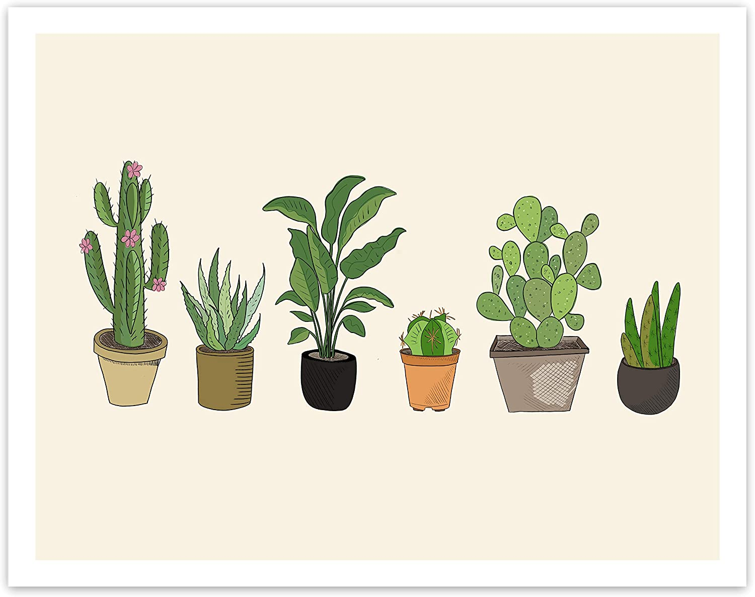 Printsmo, Potted Cactus and Succulents, Boho Minimalist Modern Art Print Poster, Contemporary Wall Art for Home Decor 11x14 inches, Unframed