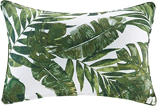 Madison Park Everett Printed Palm 3M Scotchgard Outdoor Simple Throw Pillow, Casual Botanical Fashion Oblong Decorative Pillow, 14X20, Green