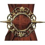 Antique Decorative Curtain Holdback, Set of 2, Bronze Silver Mahogany Gold (Gold)