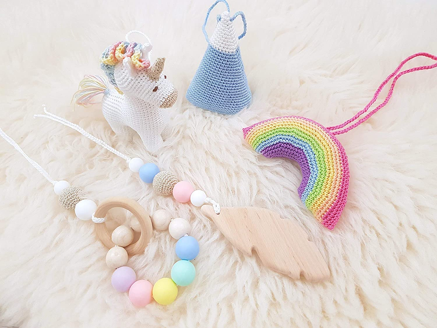 Baby gym mobiles set of 5: Rainbow, Unicorn, Mountain, Feather, Beaded ring. Infant activity center accessories, crochet rattles. Baby shower gift. Handmade in Eastern Europe.