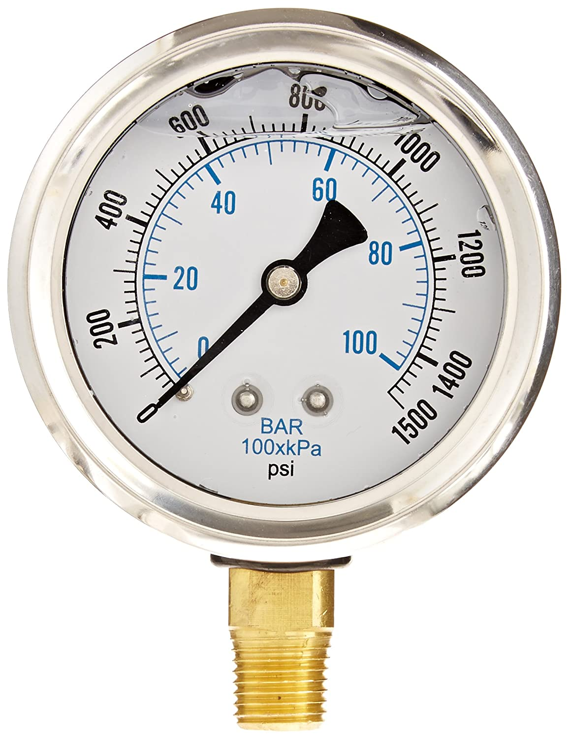 PIC Gauge PRO 201L 254N Glycerin Filled Industrial Bottom Mount Pressure Gauge with Stainless Steel Case Brass Internals Plastic Lens 2 1 2 Dial Size 1 4 Male NPT 0 1500 psi