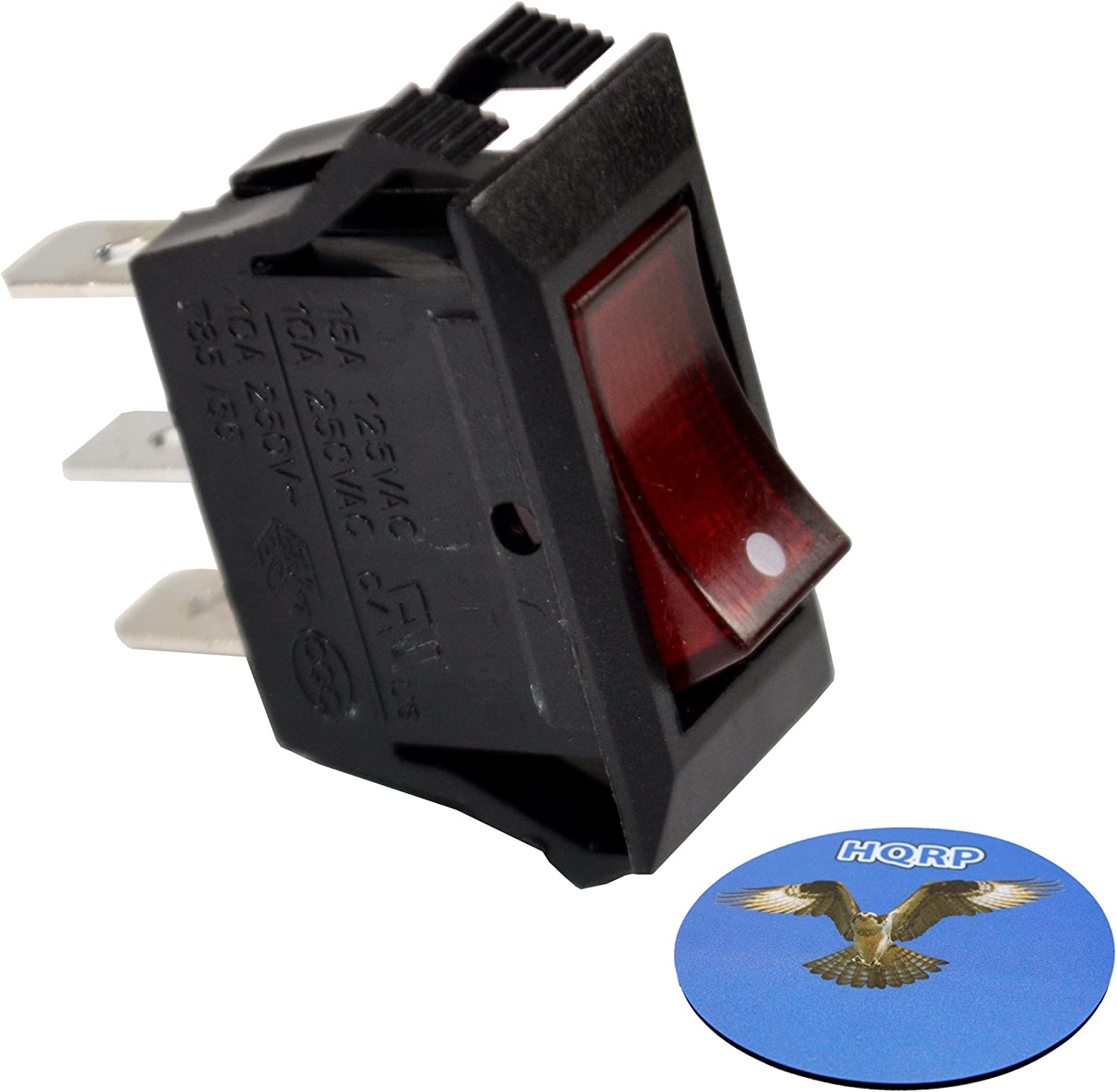 HQRP Illuminated Rocker Switch compatible with Automotive Applications, Marine Applications, Coffee Machines 125V 15A + HQRP Coaster