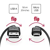 NEU equinux tizi flip – Micro USB (50cm, schwarz) Daten- und Ladekabel mit doppelseitigen reversible Steckern. Micro USB und USB-A Stecker beidseitig steckbar. Kabel mit umkehrbaren Micro-USB Anschlüssen.