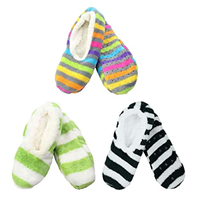 3 Pairs Adult Size Large Super Soft Warm Cozy Fuzzy Slippers Non-Slip Lined Socks, Assortment N14 at Amazon Women's Clothing store