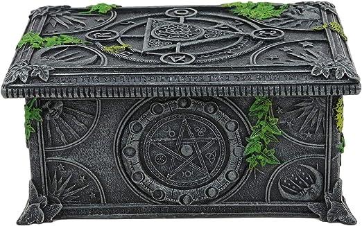 Ebros Celestial Lunar Luna Astrología Pentagrama Tarot Tarjetero Caja de Joyería con Símbolos de Alquimia y Ivy Lichen Bordes Decoración del Hogar Estatua Wicca Witchcraft Talisman: Amazon.es: Hogar