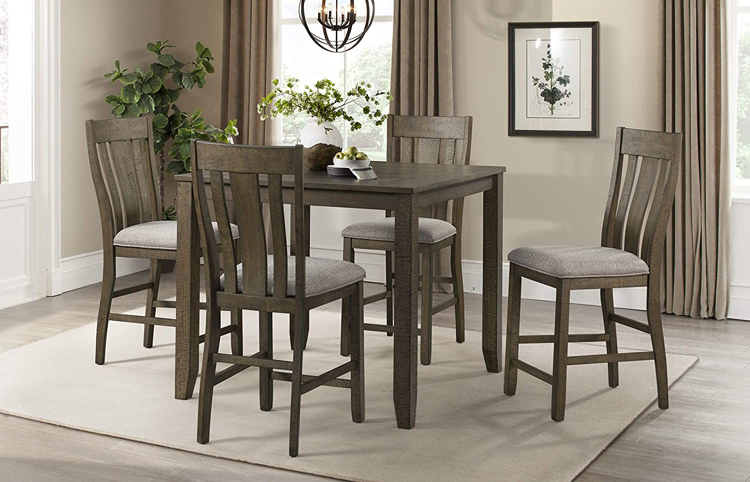 Lane Home Furnishings 5 Pc Counter Height Dining Set Brown Table Chair Sets Amazon Com