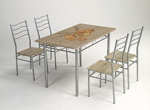 Kit Closet Conjunto Rustico de Mesa de Cocina + 4 sillas: Amazon ...