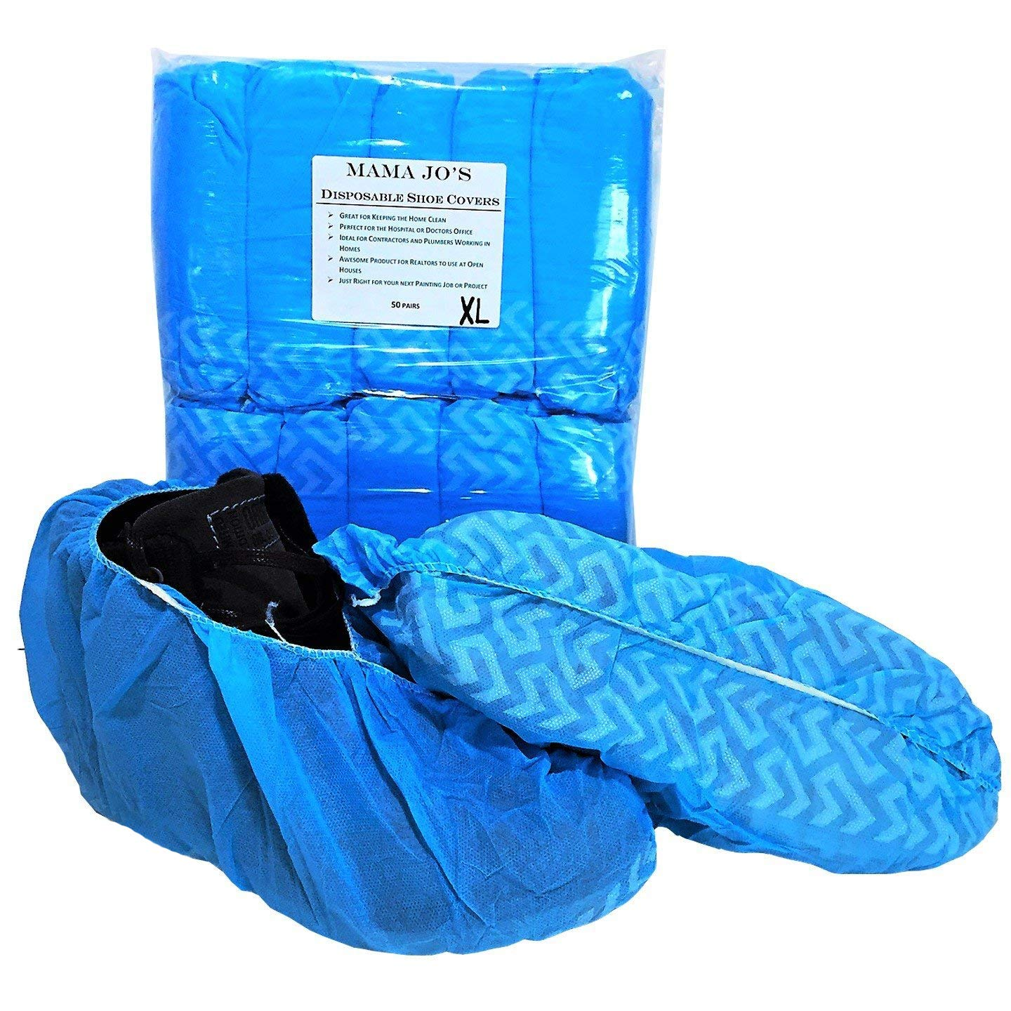 XL Disposable Boot Shoe Covers - Fits All Shoe Sizes From Size 5 to 15 - Made for Extra Large Wide Shoes and Work Boots - 100 Booties Per Pack by Mama Jo's Products