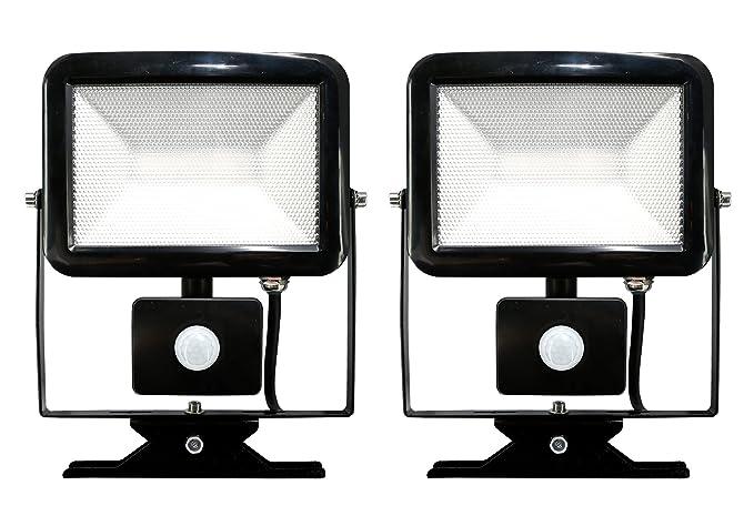Electraline 92303 par 2 x Proyector Foco Slim de exterior, IP44 a ...