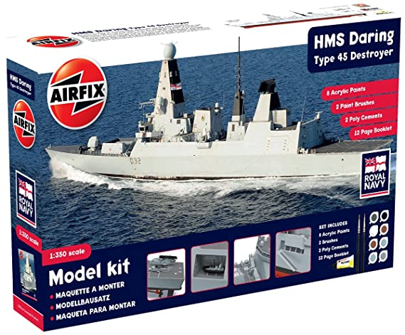 Airfix HMS Daring Type 45 Destroyer Boat Building Gift Set, 1:350 Scale
