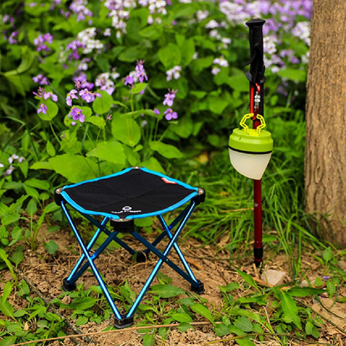 TRIWONDER Portable Camping Stool Outdoor Folding Chair Slacker Chair for Camping Backpacking Hiking Fishing Travel Garden BBQ with Carrying Sack