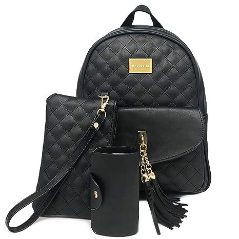 629c2eb378 Beylasita® Moda Borsa da Donna Set Zaino 3 in 1 Daypack Backpack in pelle PU