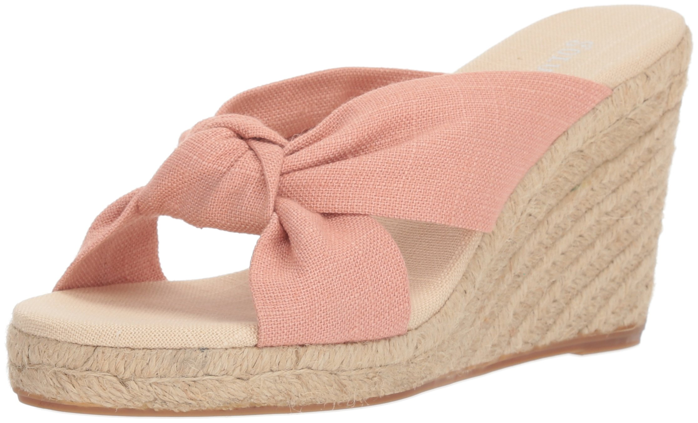 Soludos Women's Knotted (90mm) Espadrille Wedge Sandal, Dusty Rose, 8 Regular US