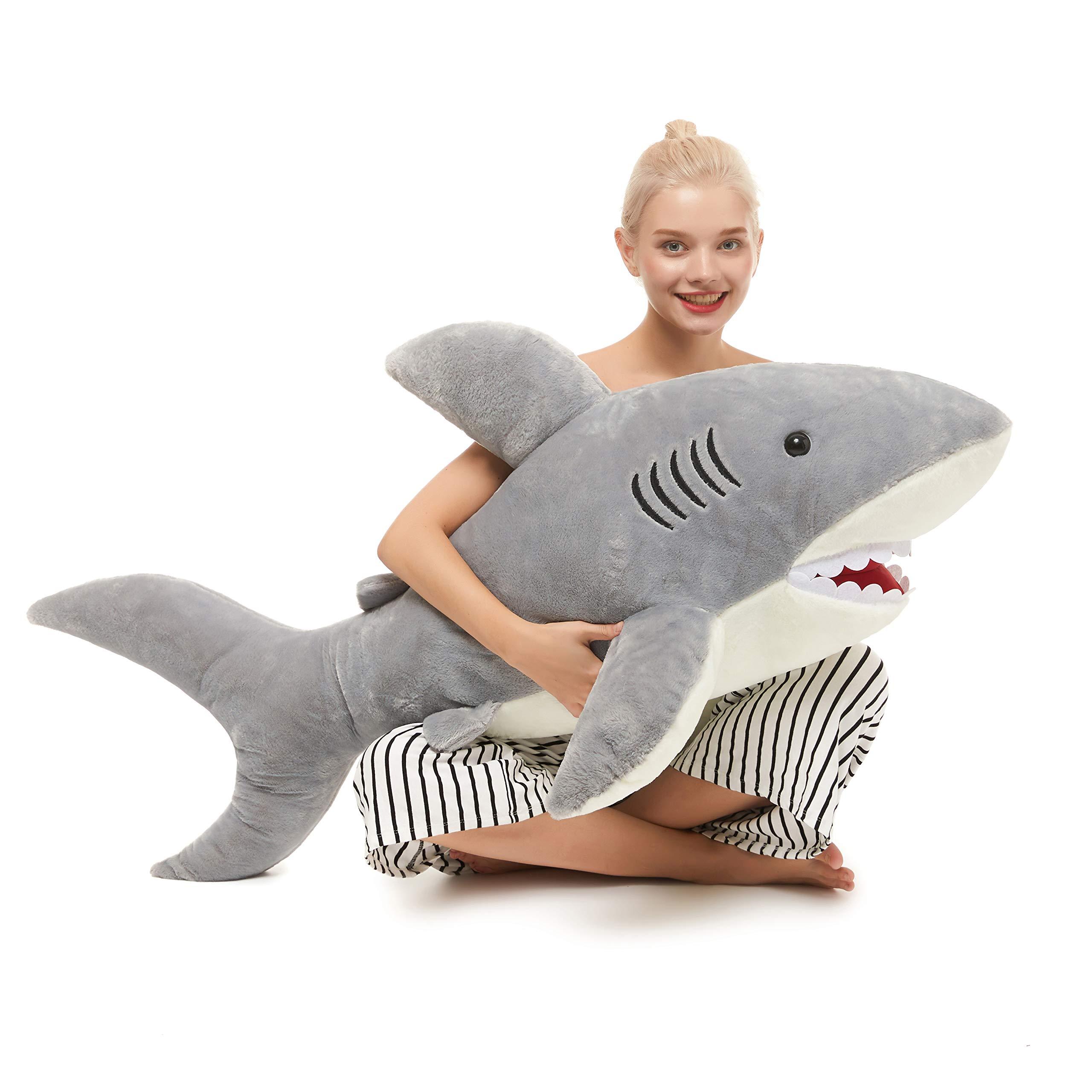 MorisMos Giant Shark Stuffed Animal,Gray Shark Plush Pillow,Plush Toy,Gift for Kids Girlfriend,51 Inches by MorisMos (Image #3)