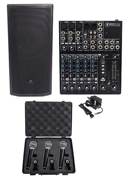 "b6e99c1c755 Amazon.com: JBL Pro PRX835XW 15"" 3-Way 1500w Active Speaker w/Wifi+Mackie  Mixer+(3) Mics: Musical Instruments"