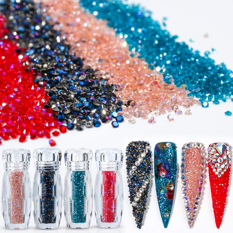 4 Iridescent AB Colors 5g×4 Ultra Tiny Mini 1.2mm Diamond DIY Glass Rhinestones Crystals Long Lasting Shine Like Swarovski for Nail Art Phone DIY Crafts& Nail Beauty Makeup Deco(UV Glue Need) Pack 1 by GADGETS ENTREPOT