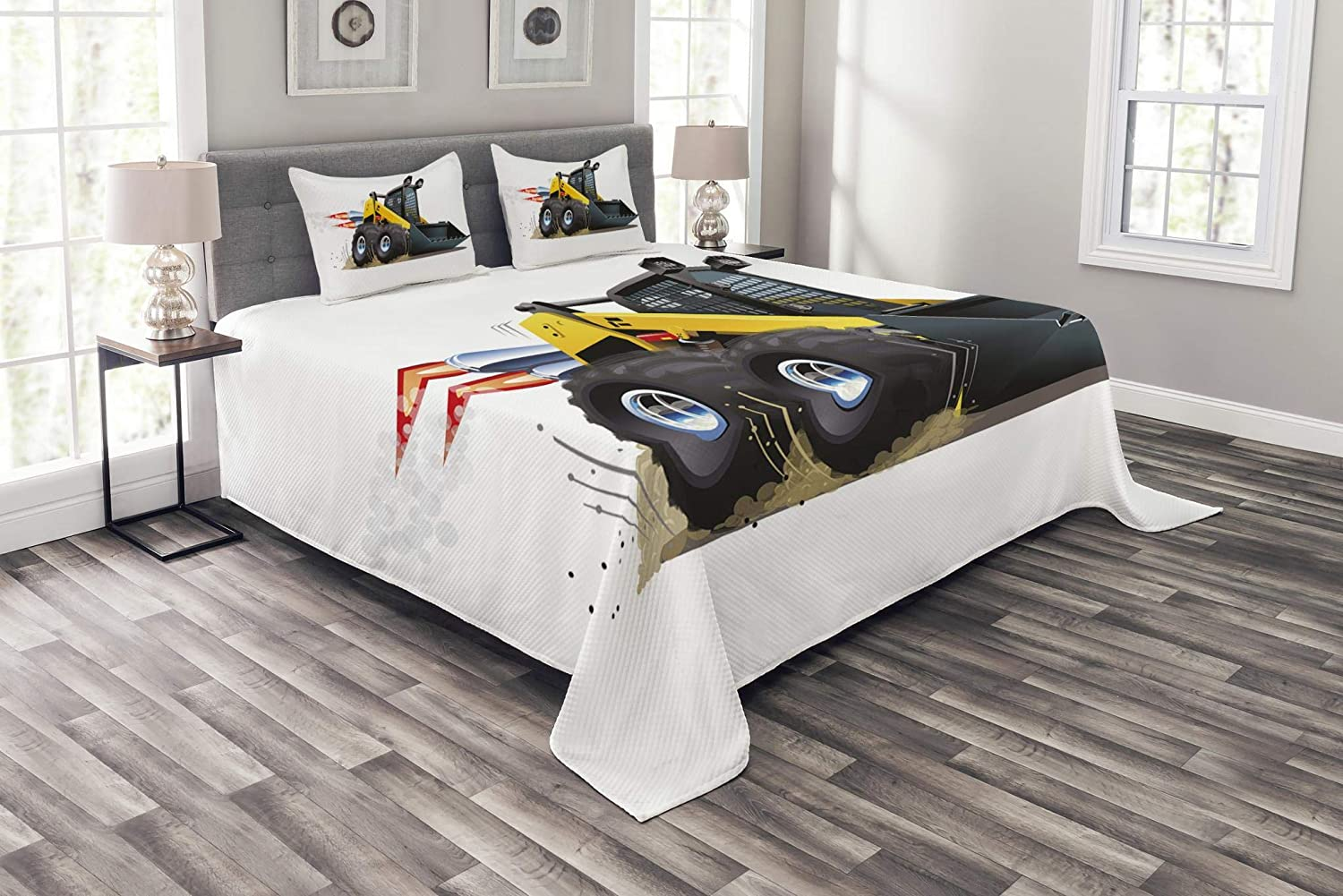 Lunarable Boy's Room Bedspread Set Twin Size, Cool Construction Vehicle Cartoon Bulldozer Skid Steer Nitro Speed Off Road, Decorative Quilted 2 Piece Coverlet Set Pillow Sham, Yellow Black bed_40636_twin