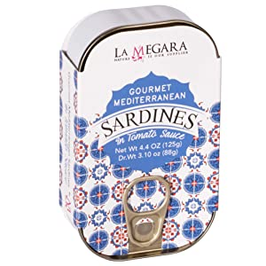 Gourmet Mediterranean Sardines In Tomato Sauce, Metallic Can 4.4 oz, Wild Caught, Great for Pasta Sauce Base, Keto & Paleo Friendly