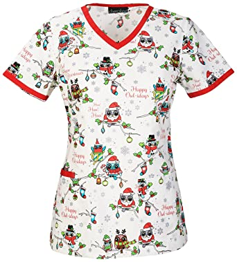 a78b5b7fd4f Amazon.com: Cherokee Women's V-Neck Christmas Print Scrub Top Small Print:  Clothing