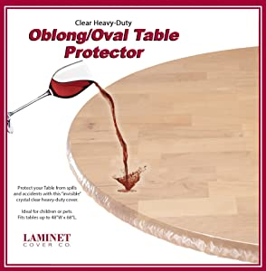 "LAMINET - Plastic Elastic Fitted Table Cover Protector - Clear - Oblong/Oval - Fits Tables up to 48"" x 68"""