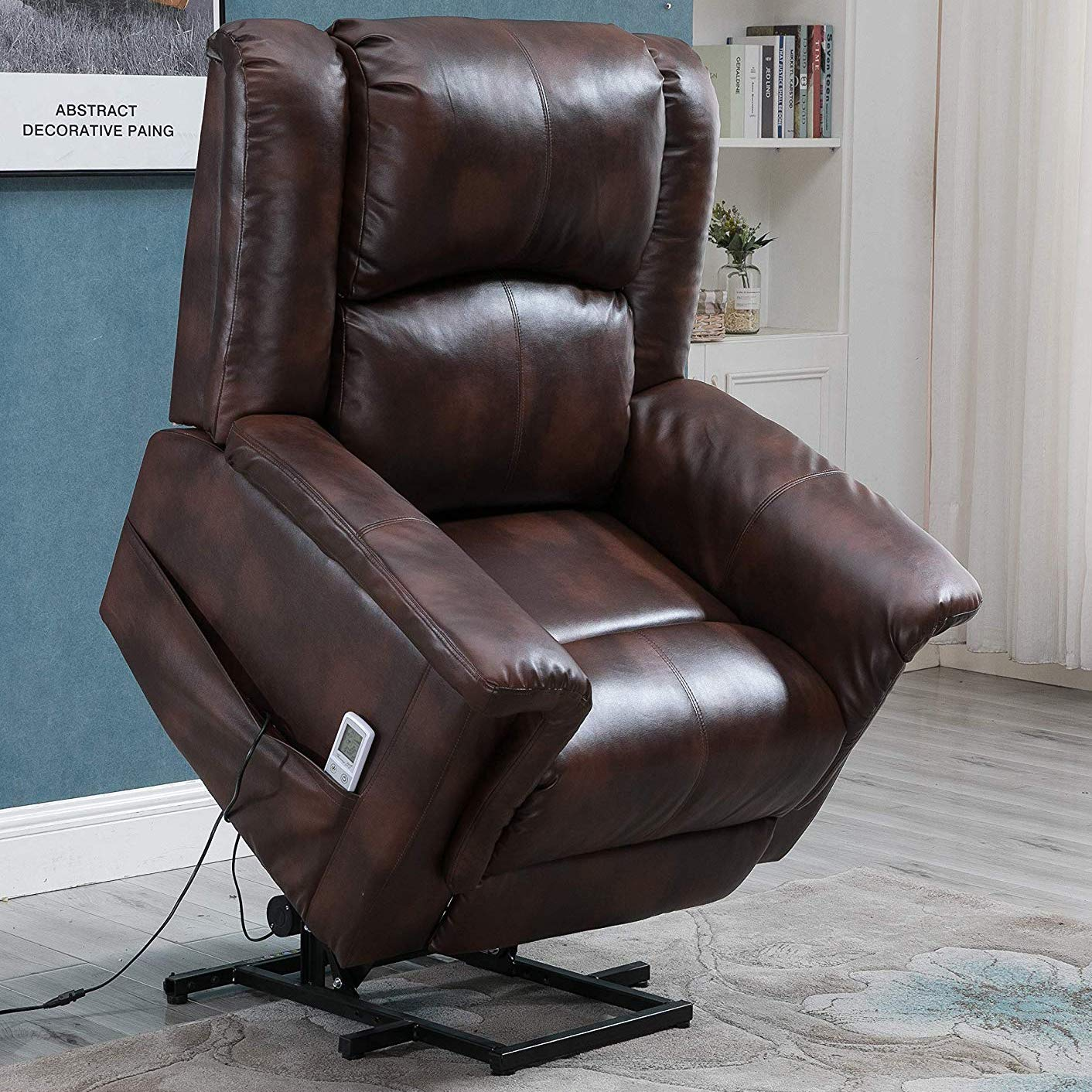 Esright Power Lift Chair Electric Recliner for Elderly Faux Leather Heated Vibration Massage with Remote Control, Brown by Esright