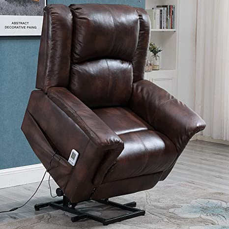Awe Inspiring Esright Power Lift Chair Electric Recliner For Elderly Faux Leather Heated Vibration Massage With Remote Control Brown Caraccident5 Cool Chair Designs And Ideas Caraccident5Info