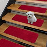 "Sweethome Stores Non-Slip Shag Carpet Stair Treads, (9""X26"")-5 Pack- Red Solid"