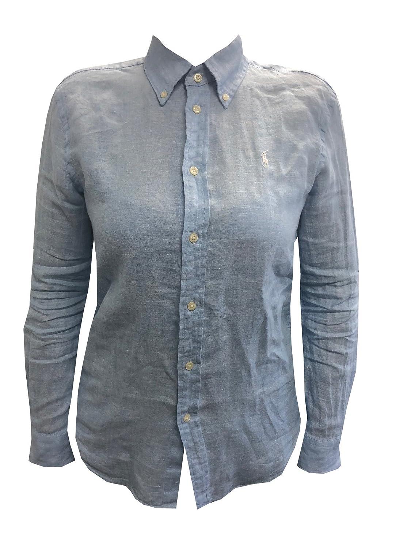 339f41d83598 RALPH LAUREN Womens Button-Down Pony Logo Linen Shirt (M