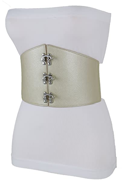 921e834278 TFJ Women Fashion Wide Elastic Corset Belt Hip Waist Hook Charms S M Beige  Champagne