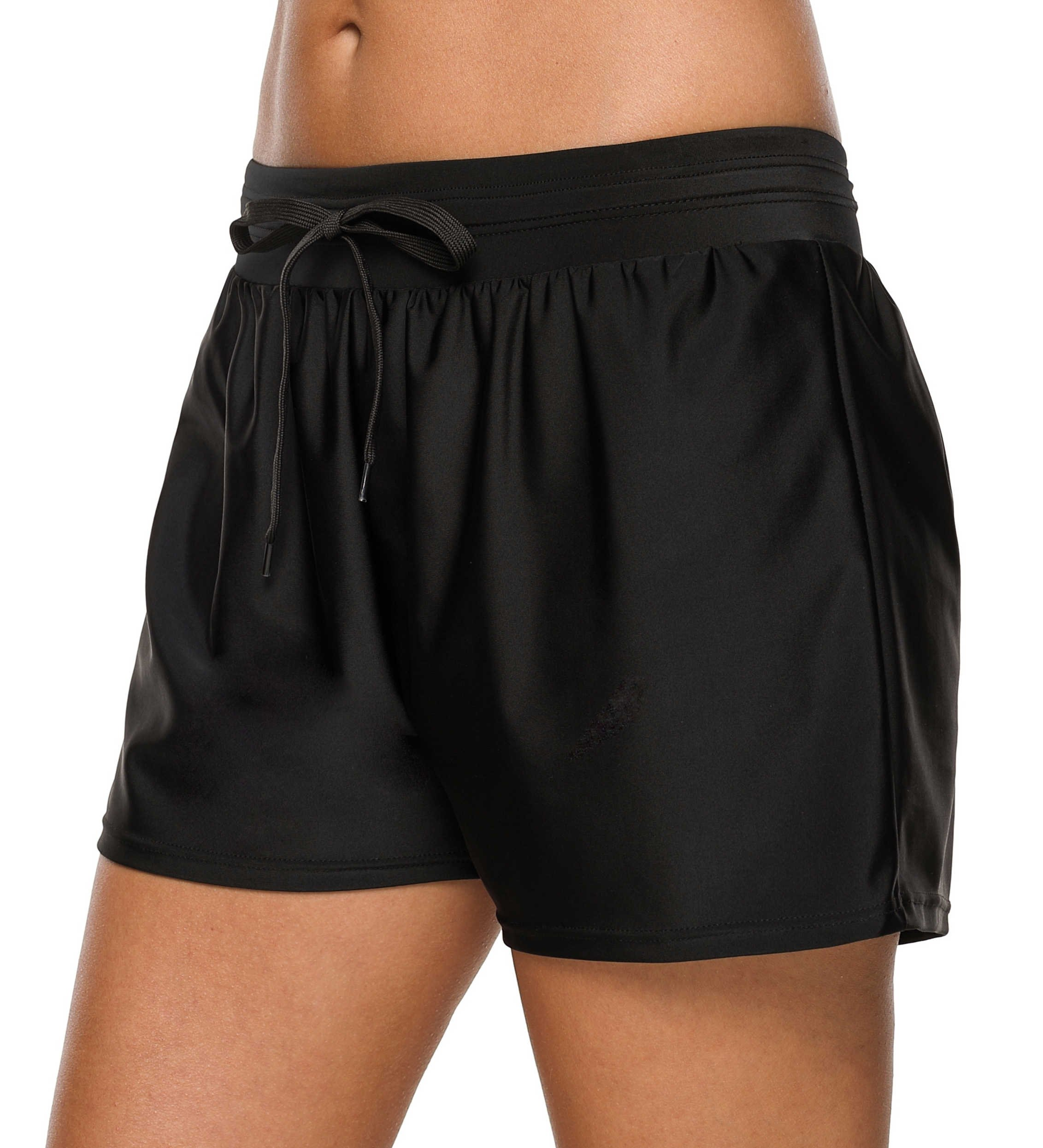 beautyin Womens Swim Bottoms Board Shorts Swimsuit Bathing Suit Shorts Black 2XL by beautyin (Image #3)