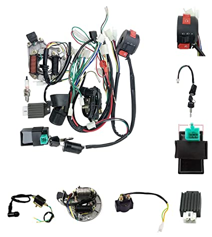 amazon com new complete main wiring harness assembly honda styleamazon com new complete main wiring harness assembly honda style horizontal atv dirt bike 70cc 110cc 4 stroke engine stator cdi switch key spark plug